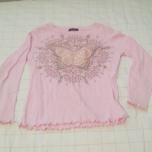 Pink long sleeved embellished shirt